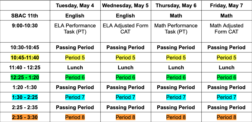 SBAC Modified Schedule