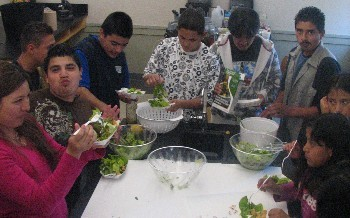 8. Enjoying the salad family style..JPG